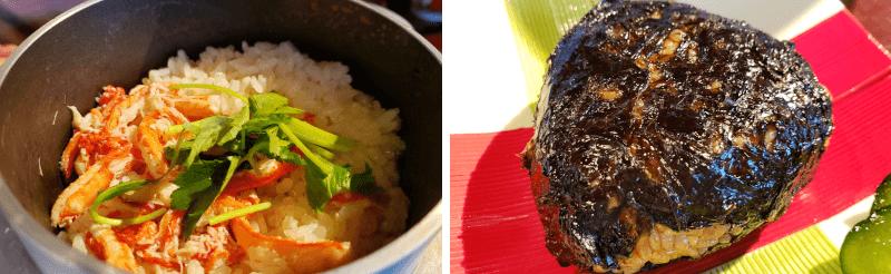 松江市にあるこ根っこやのカニ釜飯と岩のりおにぎり