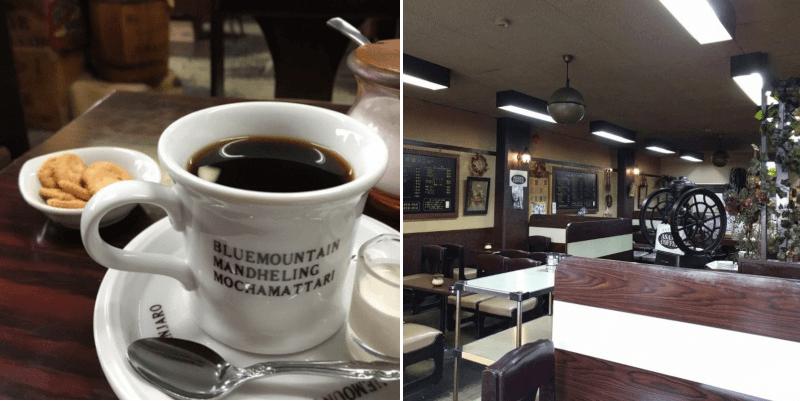 松江市にある珈琲玲瓏のコーヒーと店内