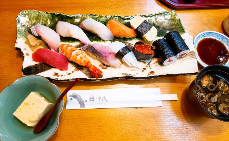 松江市末次町にある井津茂の握り寿司ランチ