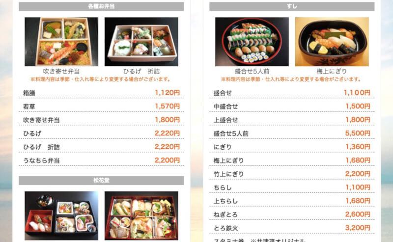 井津茂のホームページのお寿司配達メニュー