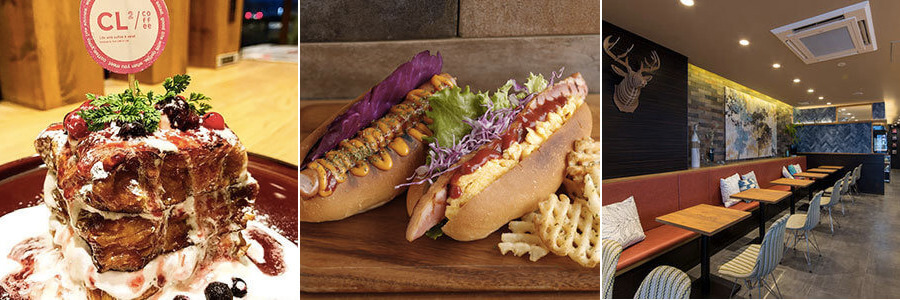 松江市東朝日町にあるcl2coffeeのスイーツとサンドイッチと店内