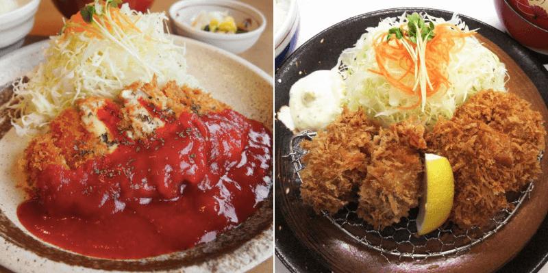 松江市学園にあるとんかつかつふじのトマトソースのとんかつ