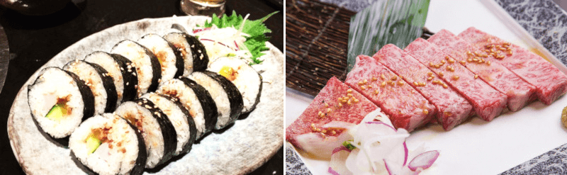 松江市にある焼肉韓食房だんだんのキンパと肉