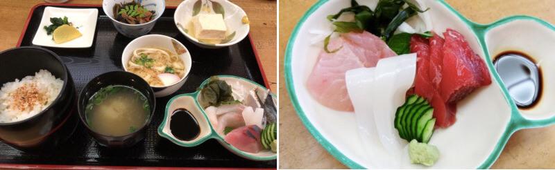 松江市御手船場にあるかねやす食堂のランチと刺身