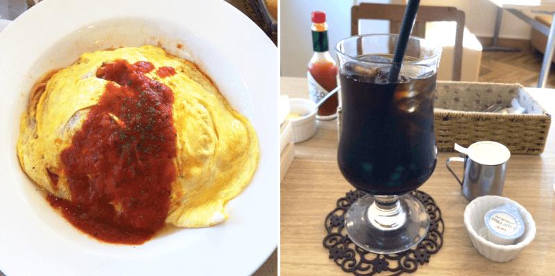 松江市上乃木にあるカフェシエルブルーのオムライスとアイスコーヒー