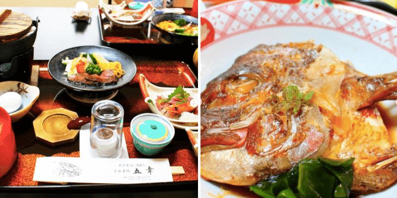 松江市上乃木にある五幸の和食膳と煮魚