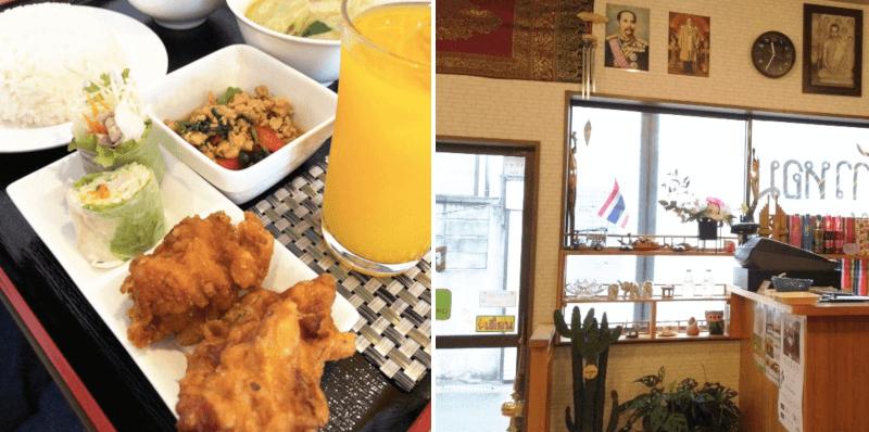 松江市にあるタイ食堂カオホムクルアタイの店内とランチ