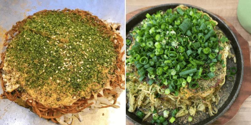 松江市にあるお好み焼きはここの豚玉ねぎトッピング