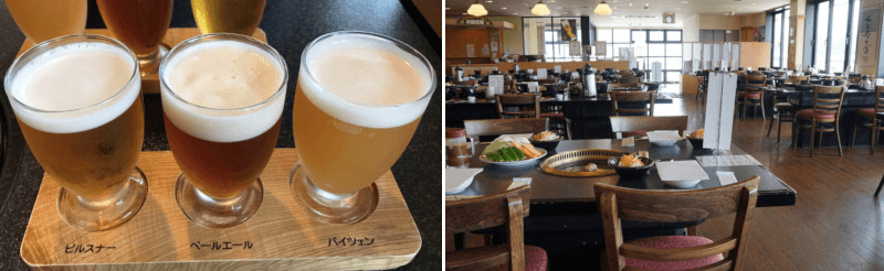 松江市にある地ビール館の飲み比べ地ビールと店内