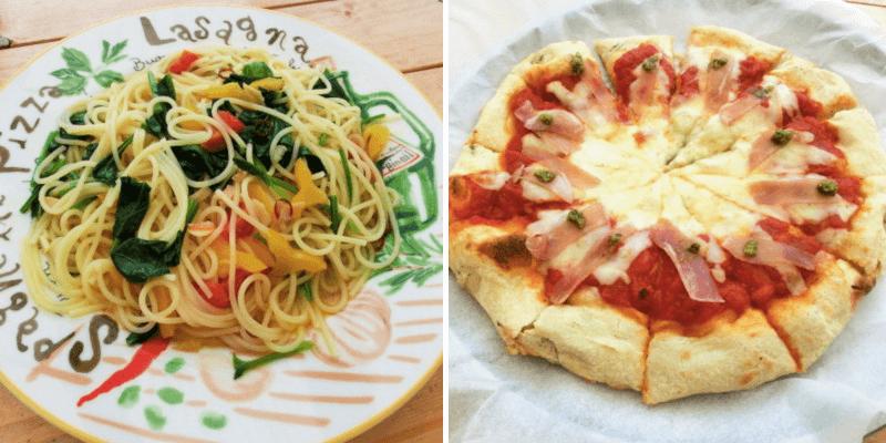 大根島にある海辺のcafeHOMEのパスタとピザ