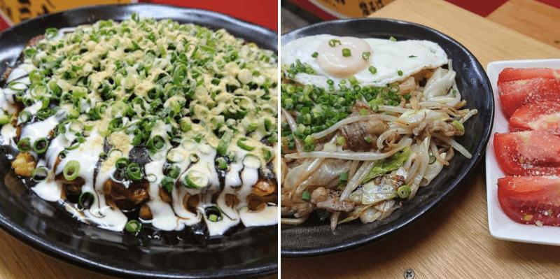 松江市学園にある大阪焼き三太のお好み焼きと焼きそば